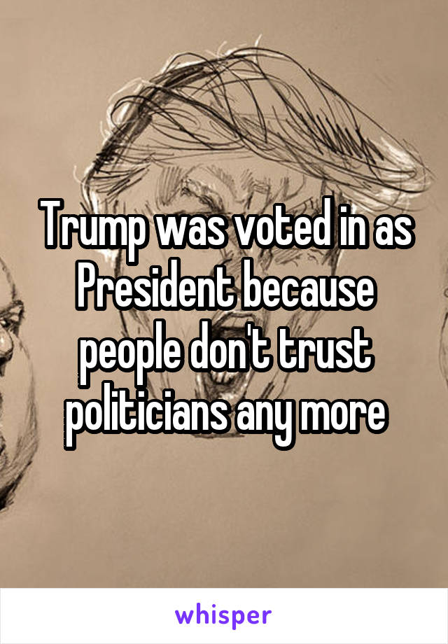 Trump was voted in as President because people don't trust politicians any more