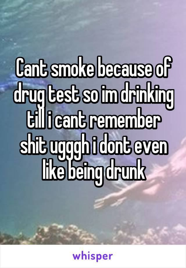 Cant smoke because of drug test so im drinking till i cant remember shit ugggh i dont even like being drunk
