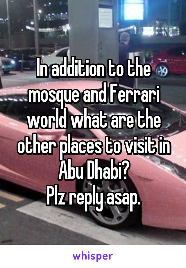In addition to the mosque and Ferrari world what are the other places to visit in Abu Dhabi? Plz reply asap.