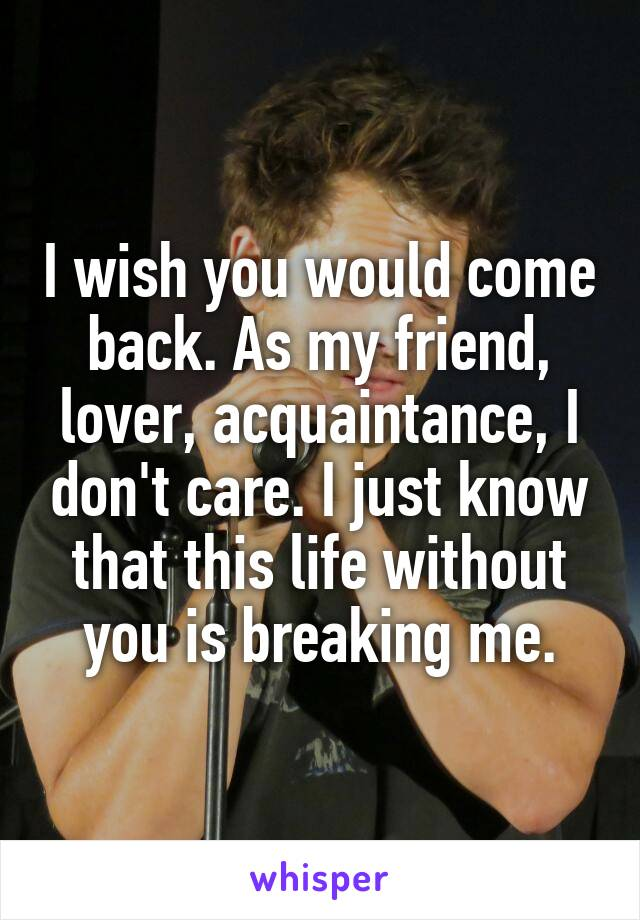 I wish you would come back. As my friend, lover, acquaintance, I don't care. I just know that this life without you is breaking me.