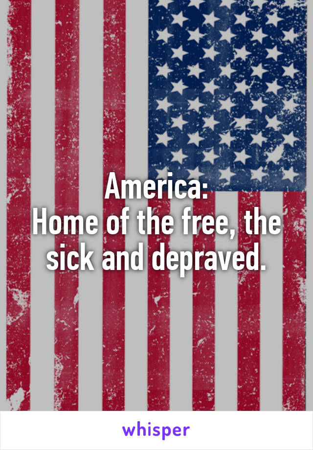 America: Home of the free, the sick and depraved.