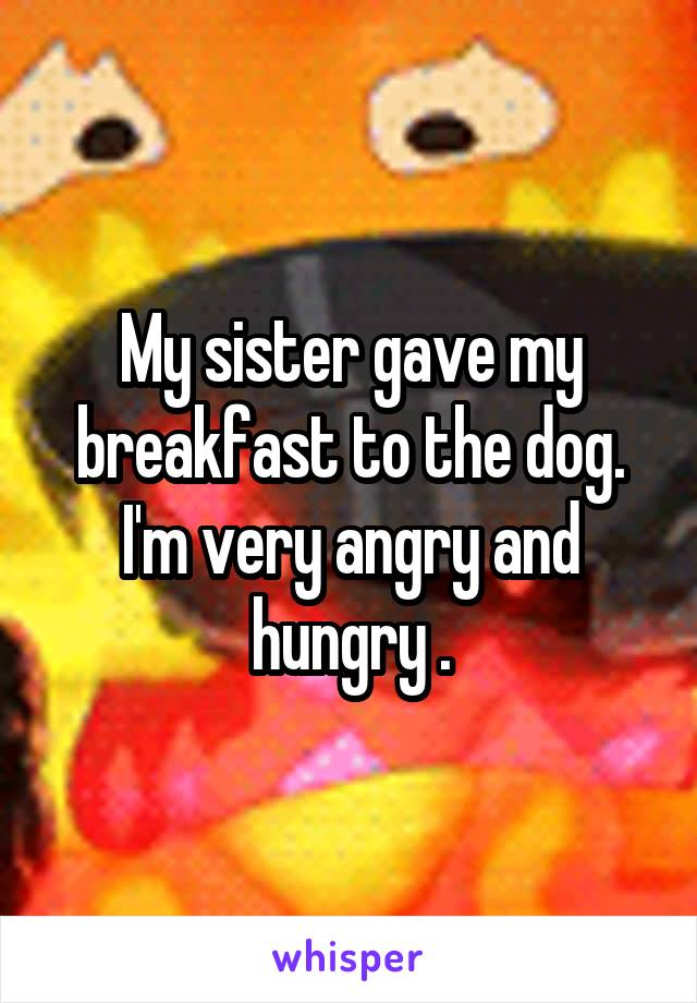 My sister gave my breakfast to the dog. I'm very angry and hungry .