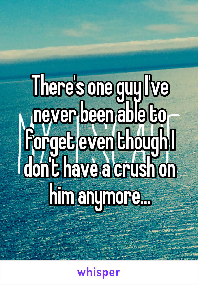 There's one guy I've never been able to forget even though I don't have a crush on him anymore...