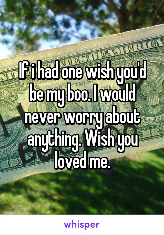 If i had one wish you'd be my boo. I would never worry about anything. Wish you loved me.