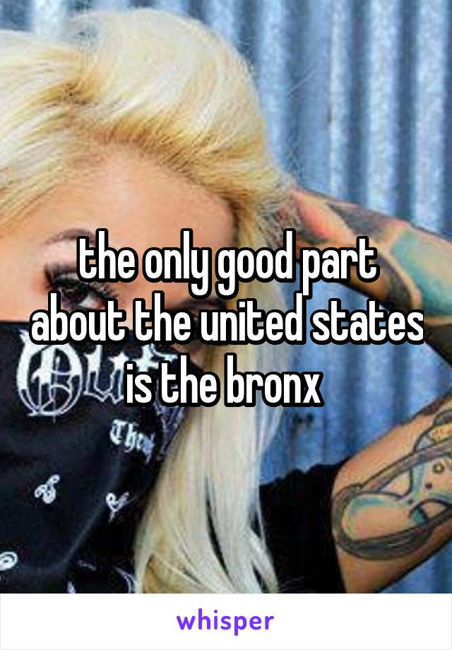 the only good part about the united states is the bronx