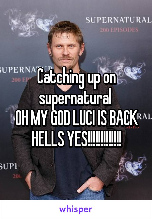 Catching up on supernatural  OH MY GOD LUCI IS BACK HELLS YES!!!!!!!!!!!!!