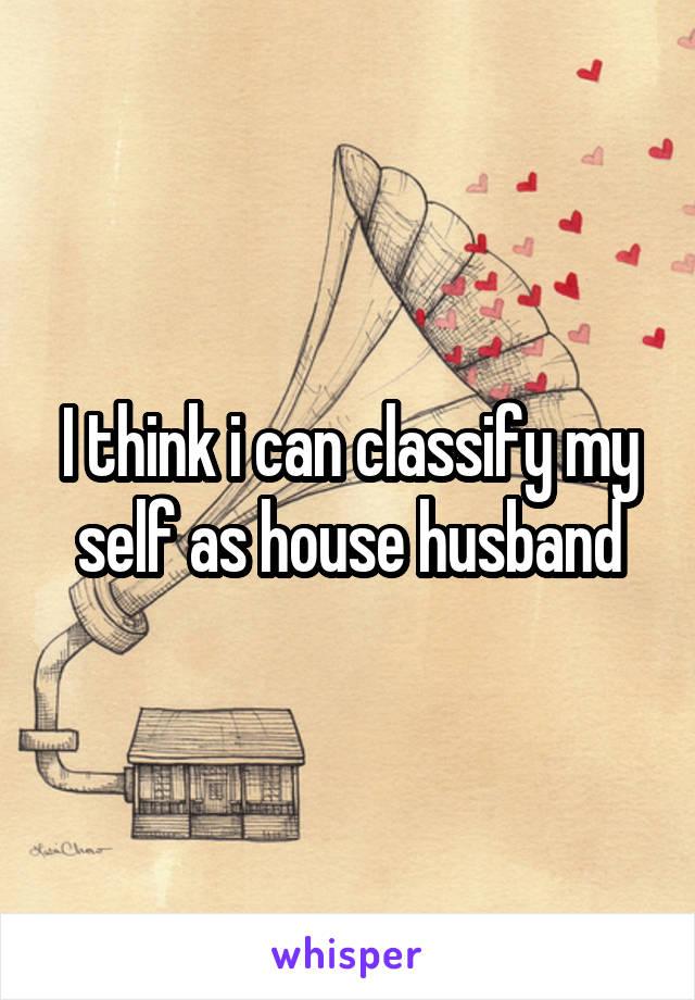 I think i can classify my self as house husband