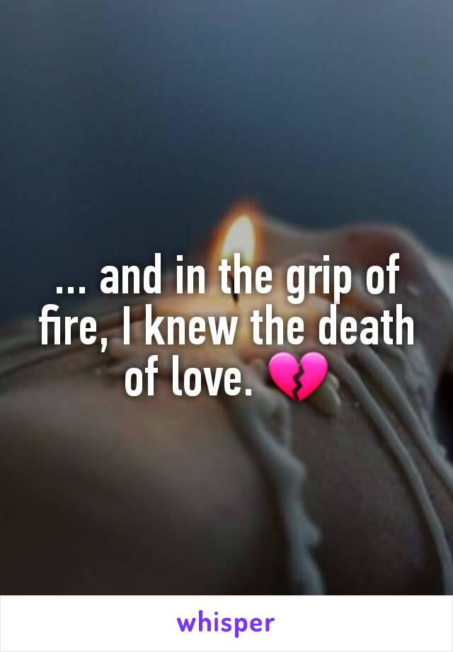 ... and in the grip of fire, I knew the death of love. 💔
