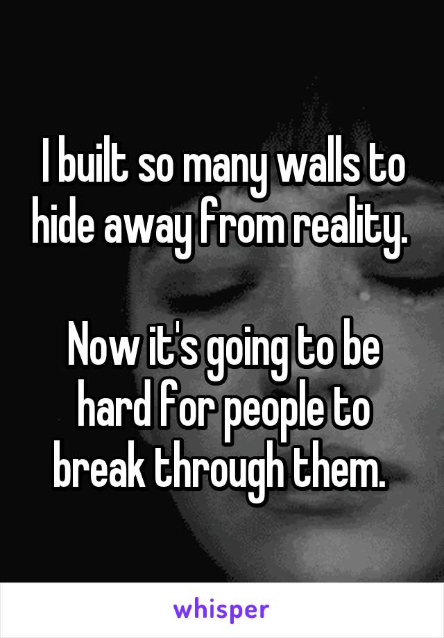 I built so many walls to hide away from reality.   Now it's going to be hard for people to break through them.