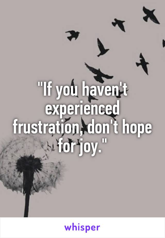 """""""If you haven't experienced frustration, don't hope for joy."""""""