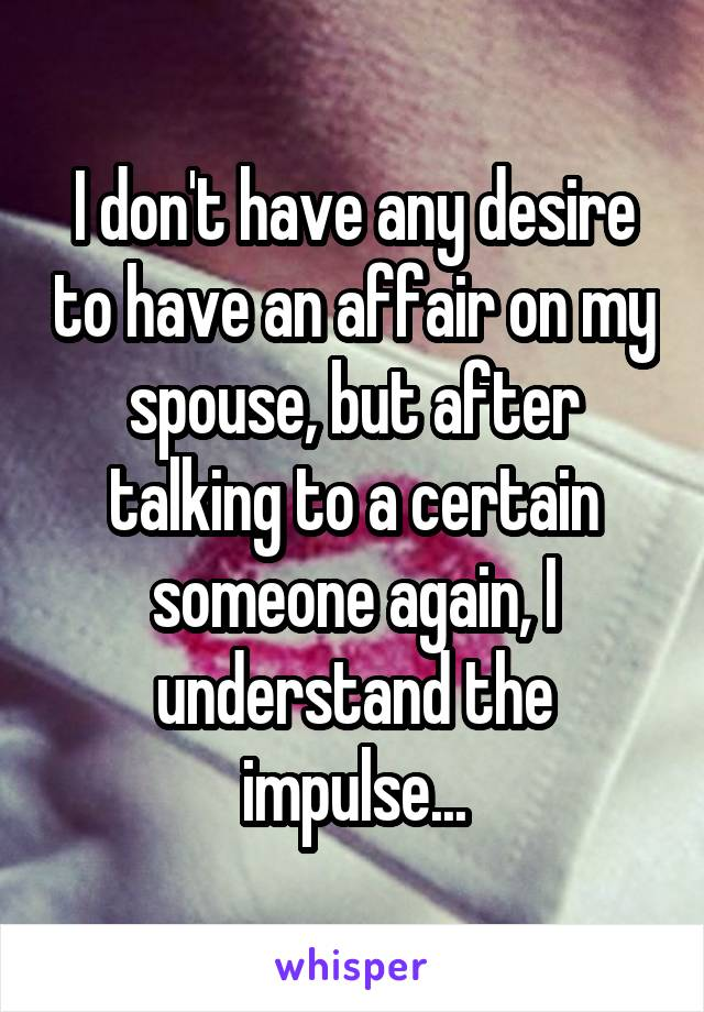 I don't have any desire to have an affair on my spouse, but after talking to a certain someone again, I understand the impulse...