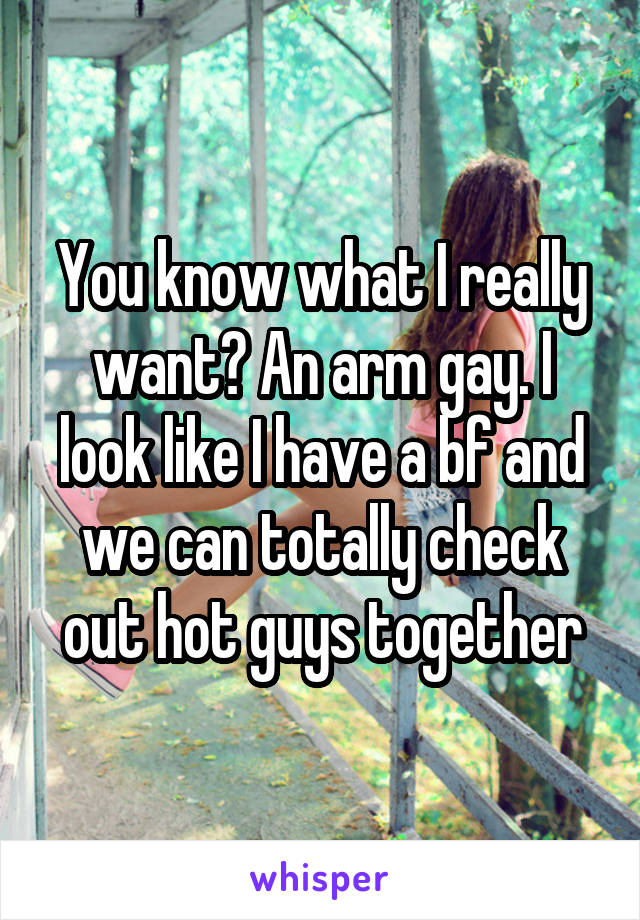 You know what I really want? An arm gay. I look like I have a bf and we can totally check out hot guys together