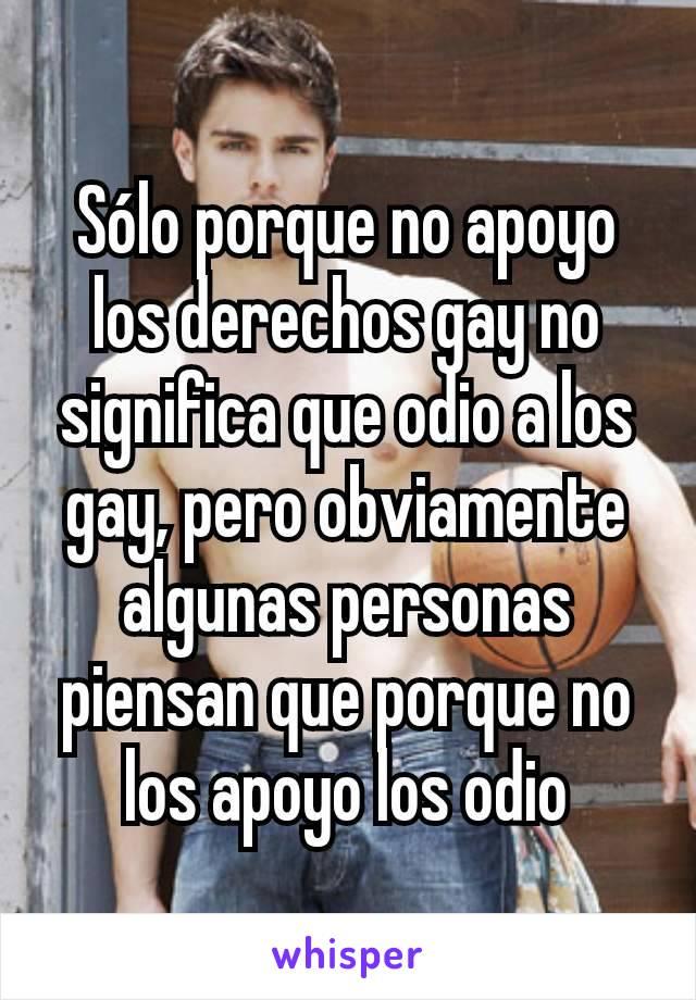 Sólo porque no apoyo los derechos gay no significa que odio a los gay, pero obviamente algunas personas piensan que porque no los apoyo los odio