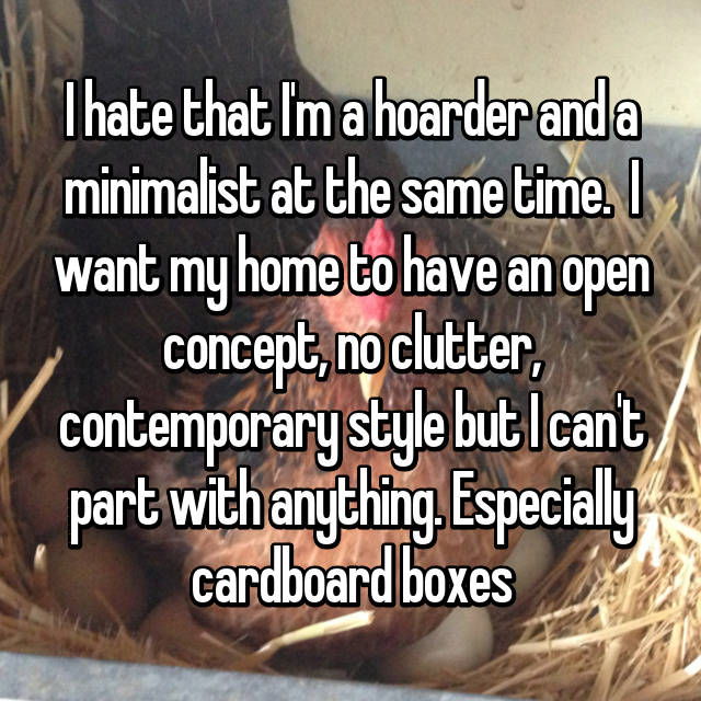 I hate that I'm a hoarder and a minimalist at the same time.  I want my home to have an open concept, no clutter, contemporary style but I can't part with anything. Especially cardboard boxes 😣