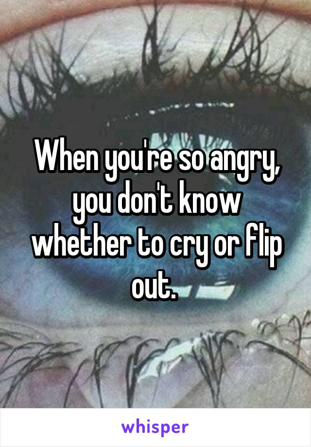 When you're so angry, you don't know whether to cry or flip out.