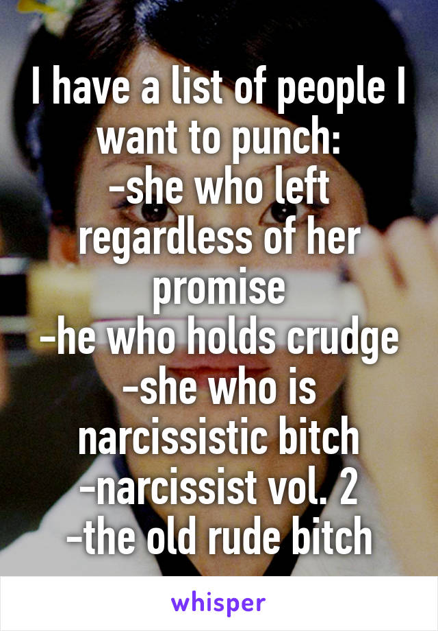 I have a list of people I want to punch: -she who left regardless of her promise -he who holds crudge -she who is narcissistic bitch -narcissist vol. 2 -the old rude bitch