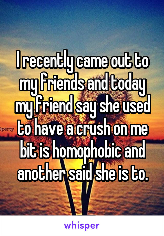 I recently came out to my friends and today my friend say she used to have a crush on me bit is homophobic and another said she is to.
