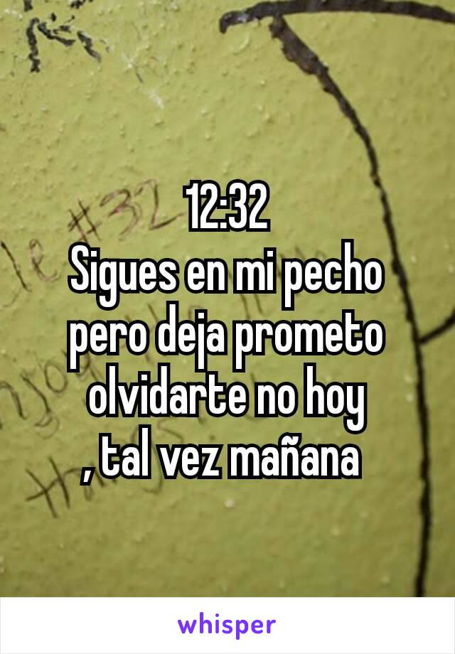 12:32 Sigues en mi pecho pero deja prometo olvidarte no hoy , tal vez mañana