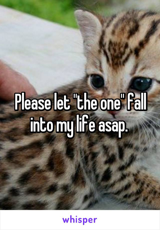 """Please let """"the one"""" fall into my life asap."""
