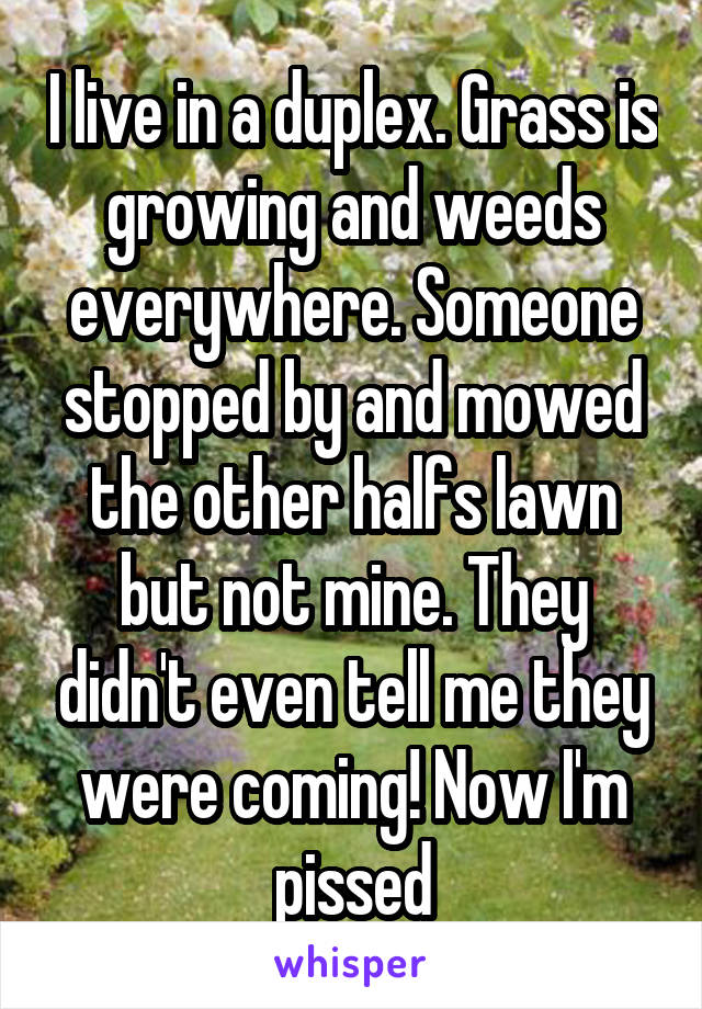 I live in a duplex. Grass is growing and weeds everywhere. Someone stopped by and mowed the other halfs lawn but not mine. They didn't even tell me they were coming! Now I'm pissed