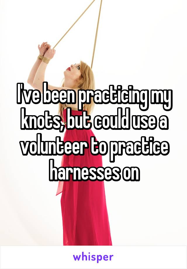 I've been practicing my knots, but could use a volunteer to practice harnesses on