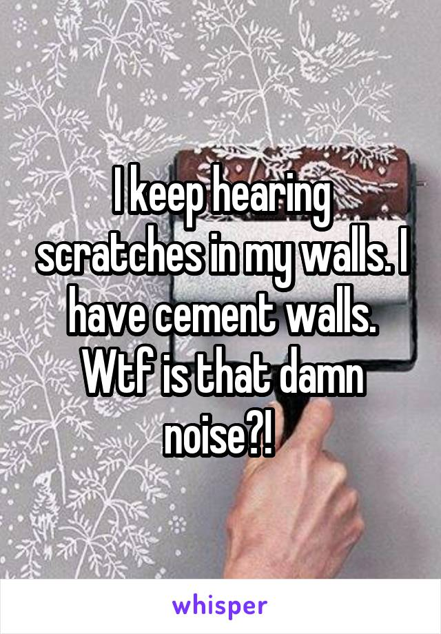 I keep hearing scratches in my walls. I have cement walls. Wtf is that damn noise?!