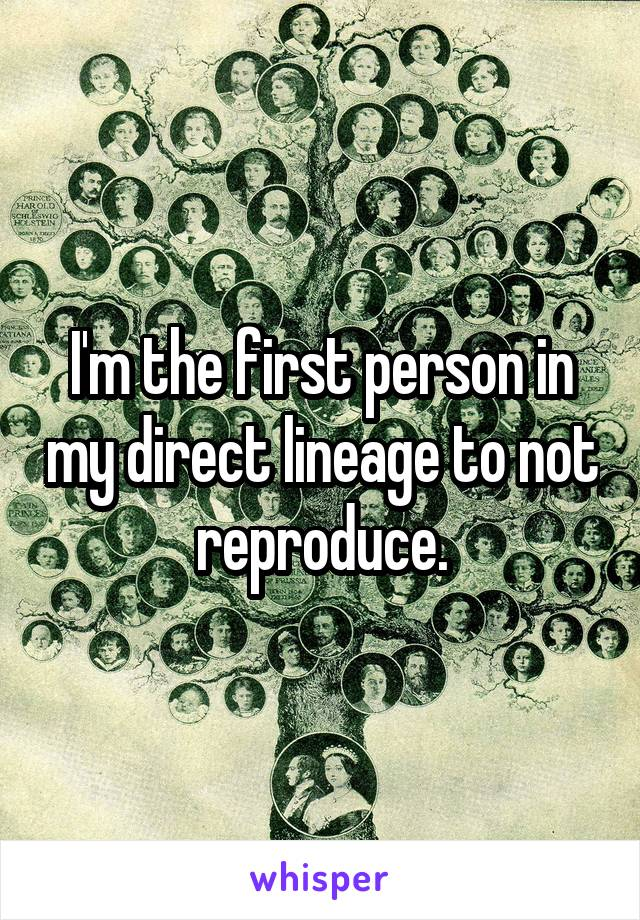I'm the first person in my direct lineage to not reproduce.