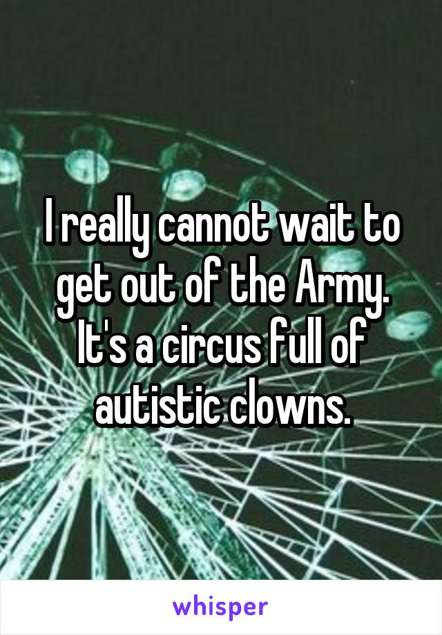 I really cannot wait to get out of the Army. It's a circus full of autistic clowns.