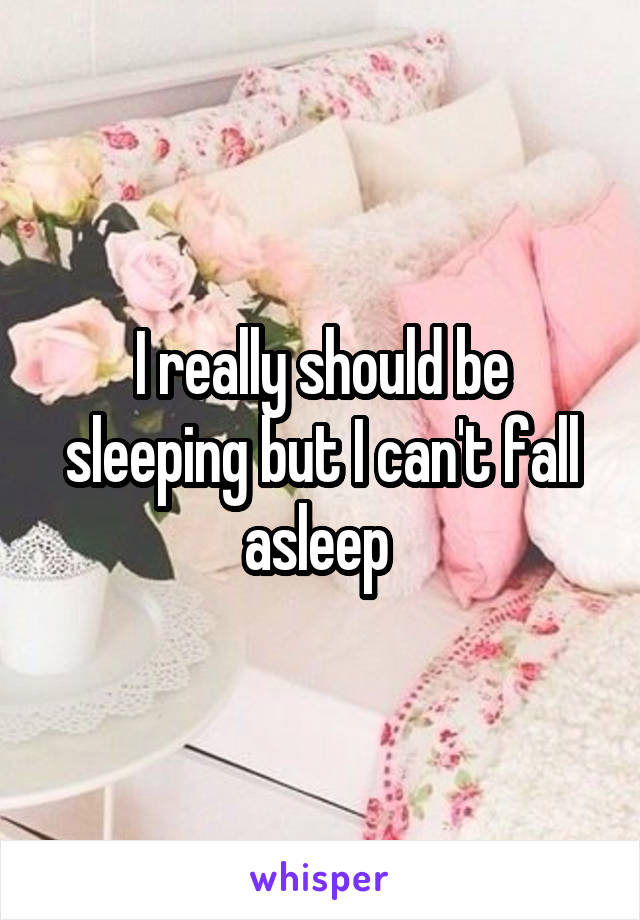 I really should be sleeping but I can't fall asleep
