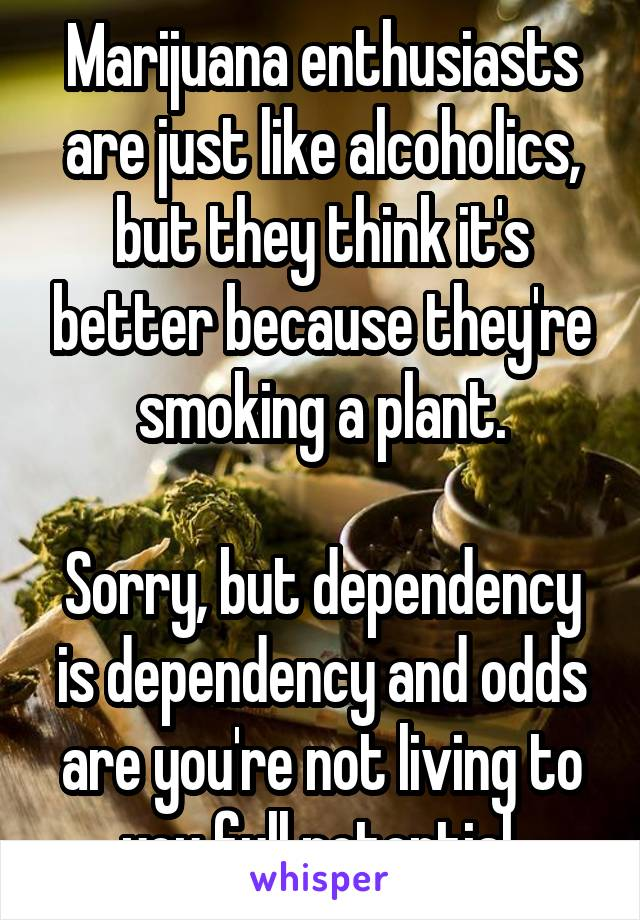 Marijuana enthusiasts are just like alcoholics, but they think it's better because they're smoking a plant.  Sorry, but dependency is dependency and odds are you're not living to you full potential.