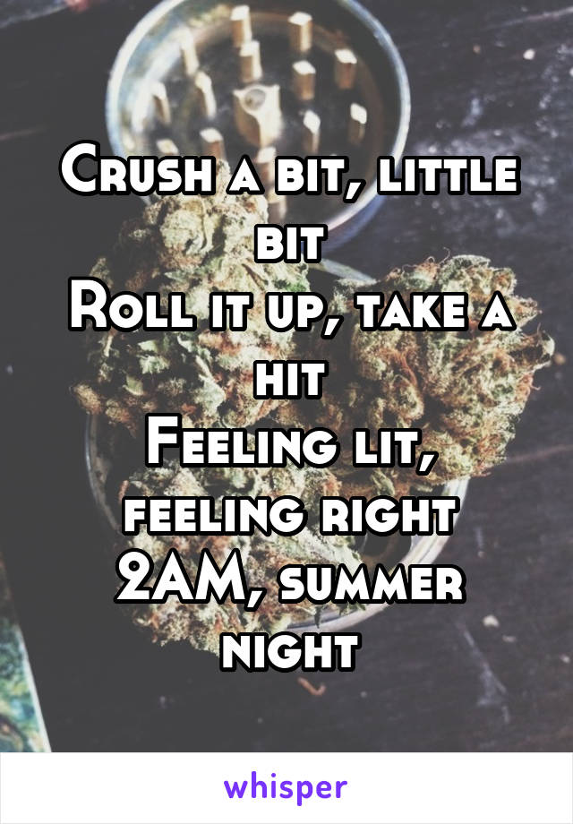 Crush a bit, little bit Roll it up, take a hit Feeling lit, feeling right 2AM, summer night