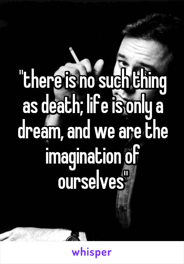 """""""there is no such thing as death; life is only a dream, and we are the imagination of ourselves"""""""