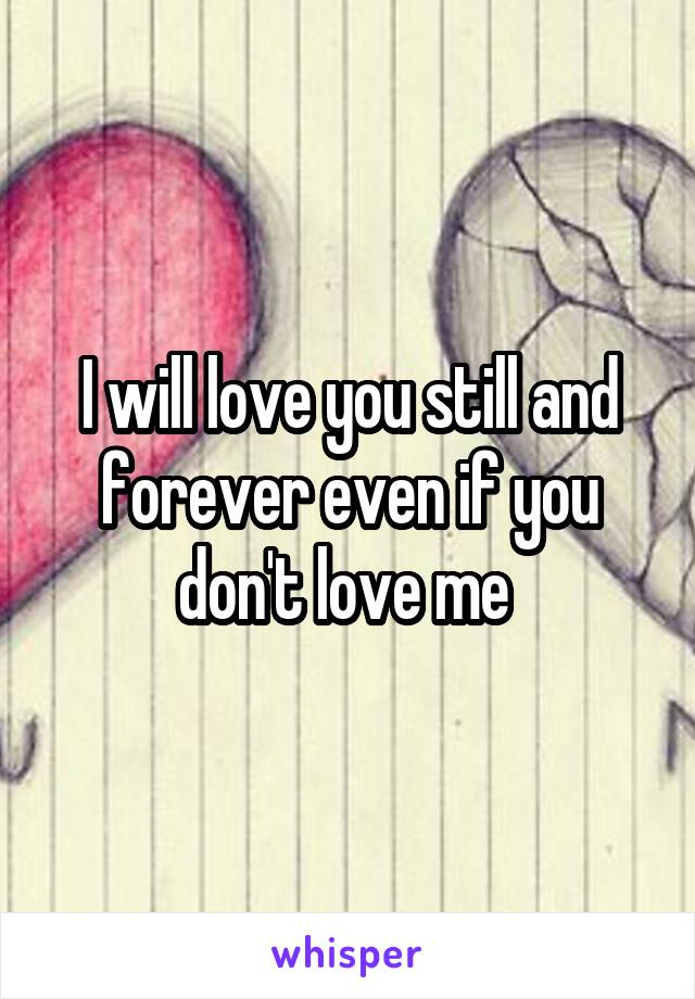I will love you still and forever even if you don't love me