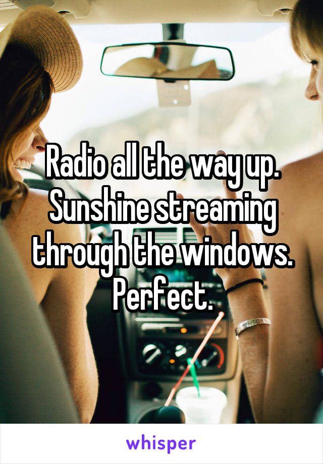 Radio all the way up. Sunshine streaming through the windows. Perfect.