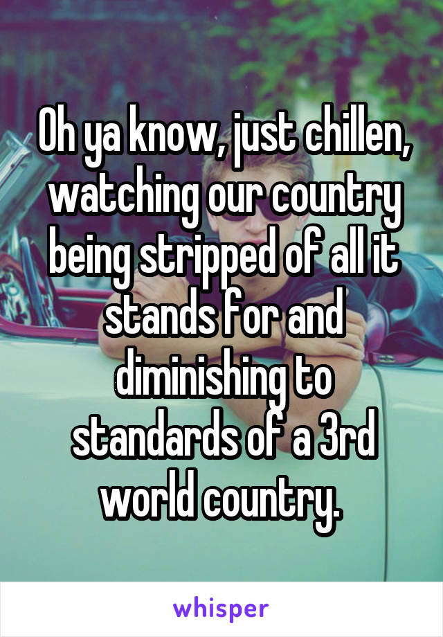 Oh ya know, just chillen, watching our country being stripped of all it stands for and diminishing to standards of a 3rd world country.
