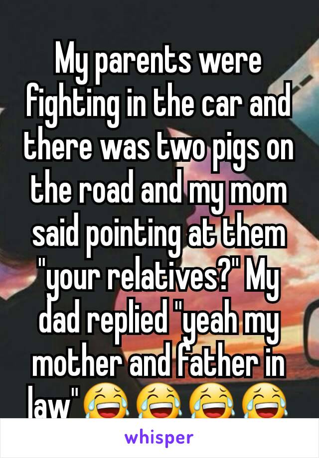 "My parents were fighting in the car and there was two pigs on the road and my mom said pointing at them ""your relatives?"" My dad replied ""yeah my mother and father in law""😂😂😂😂"