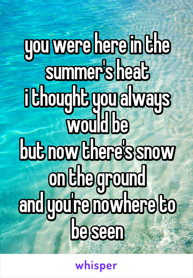 you were here in the summer's heat i thought you always would be but now there's snow on the ground and you're nowhere to be seen