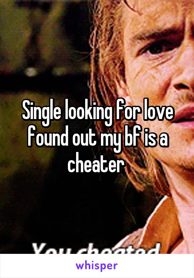 Single looking for love found out my bf is a cheater