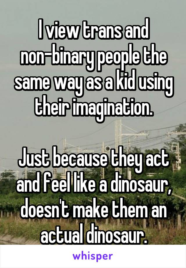 I view trans and non-binary people the same way as a kid using their imagination.  Just because they act and feel like a dinosaur, doesn't make them an actual dinosaur.