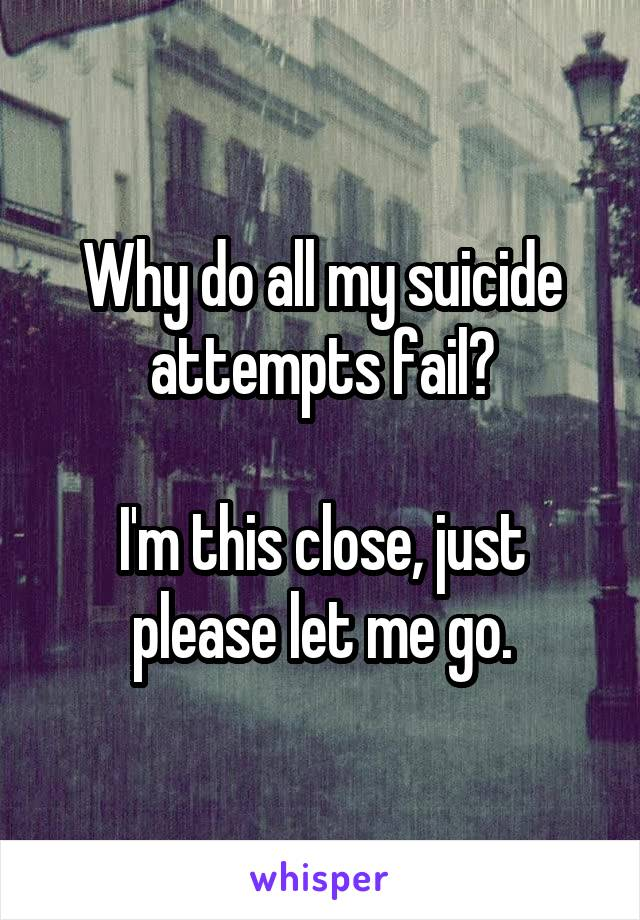 Why do all my suicide attempts fail?  I'm this close, just please let me go.