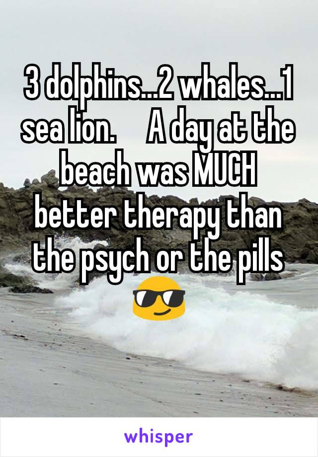 3 dolphins...2 whales...1 sea lion.     A day at the beach was MUCH better therapy than the psych or the pills 😎