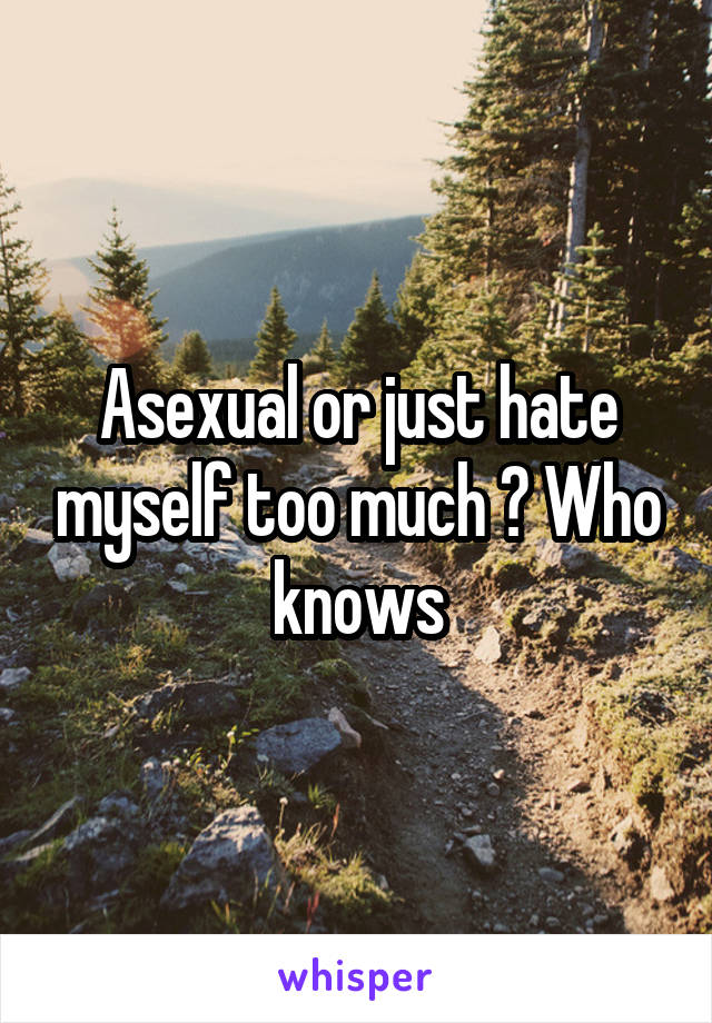 Asexual or just hate myself too much ? Who knows