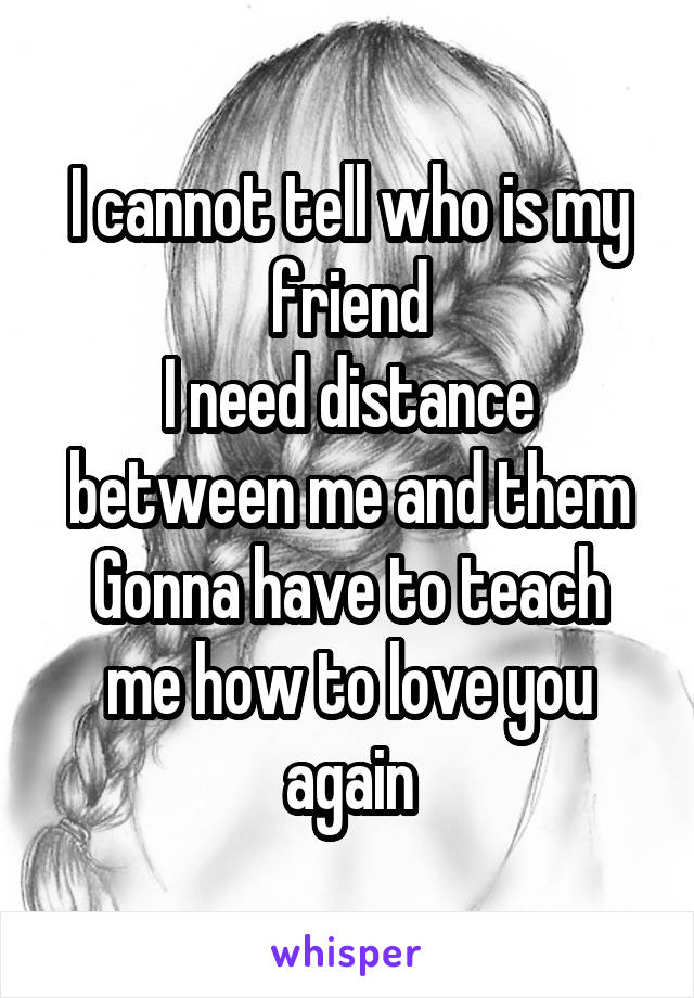 I cannot tell who is my friend I need distance between me and them Gonna have to teach me how to love you again