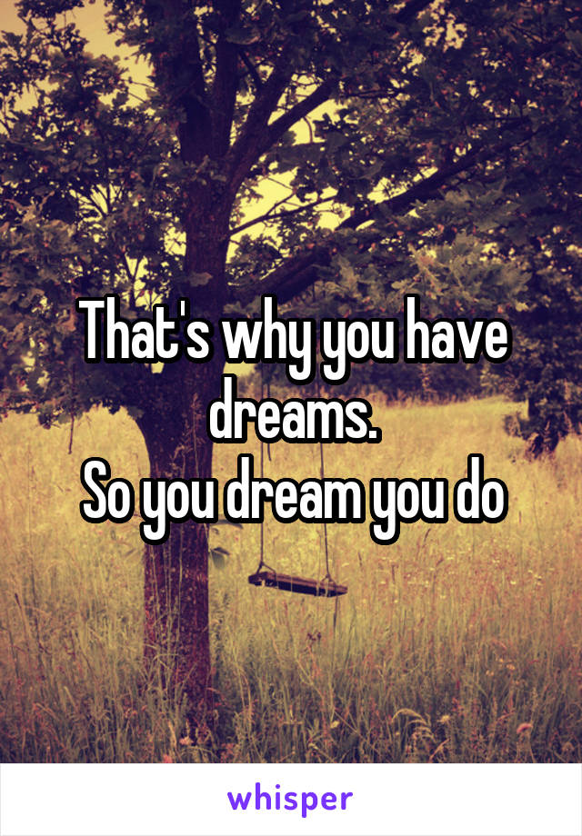 That's why you have dreams. So you dream you do