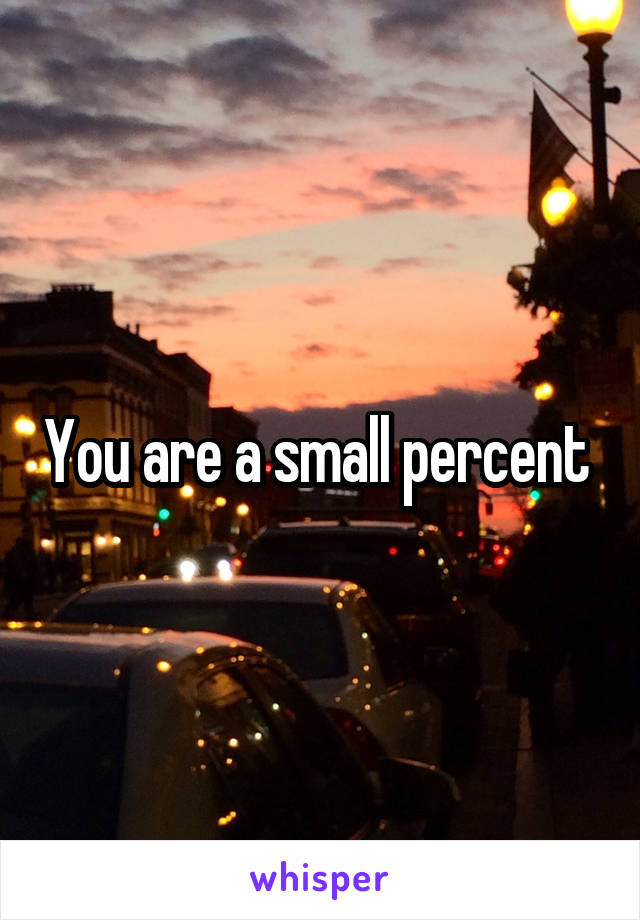 You are a small percent
