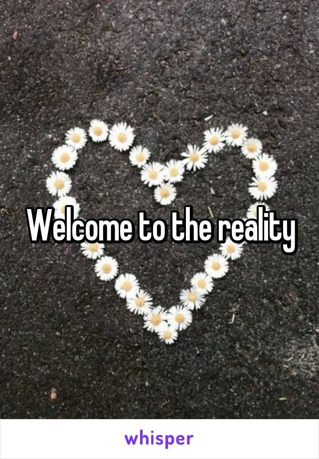 Welcome to the reality