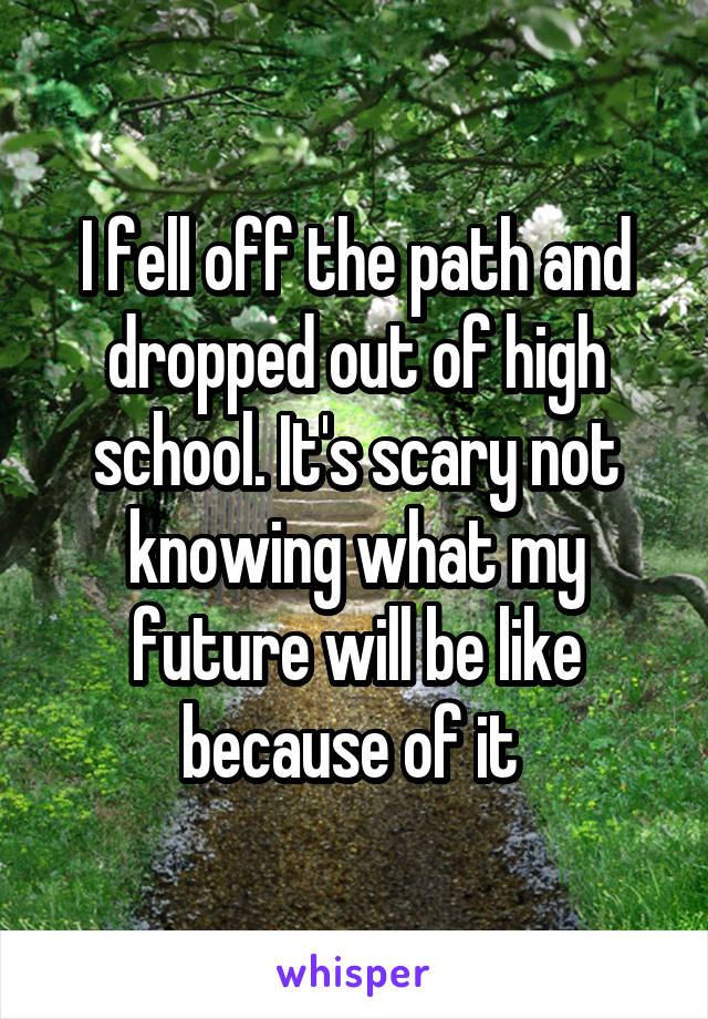 I fell off the path and dropped out of high school. It's scary not knowing what my future will be like because of it
