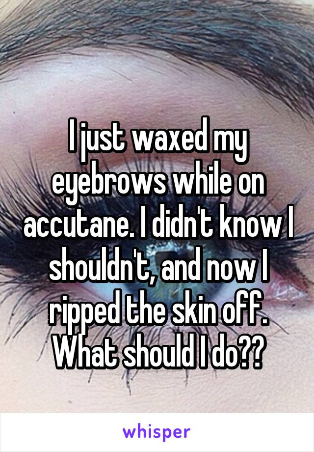 I just waxed my eyebrows while on accutane. I didn't know I shouldn't, and now I ripped the skin off. What should I do??