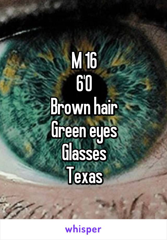 M 16 6'0 Brown hair Green eyes Glasses Texas