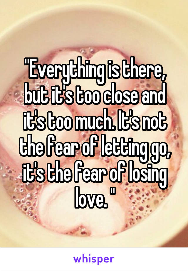 """""""Everything is there, but it's too close and it's too much. It's not the fear of letting go, it's the fear of losing love. """""""